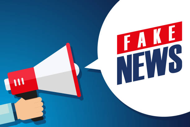 Male hand holding megaphone with Fake News speech bubble. Loudspeaker. Male hand holding megaphone with Fake News speech bubble. Loudspeaker. Vector illustration. artificial stock illustrations
