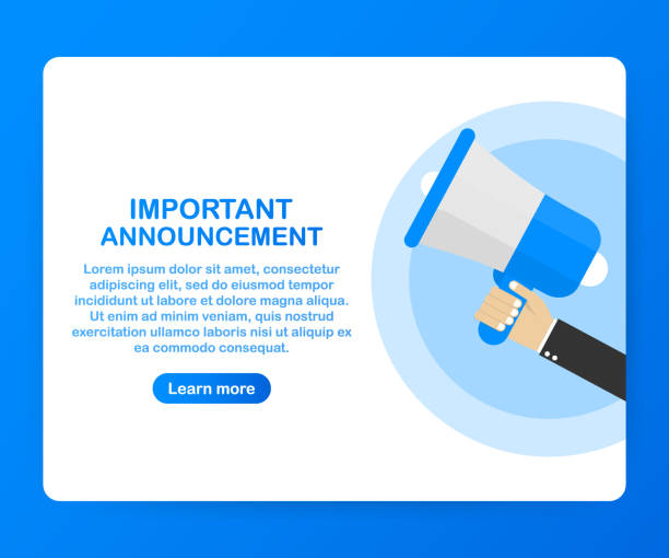 Male hand holding megaphone with Important Announcement. Loudspeaker. Banner for business, marketing and advertising. Vector stock illustration. Male hand holding megaphone with Important Announcement. Loudspeaker. Banner for business, marketing and advertising. Vector stock illustration. showing off stock illustrations