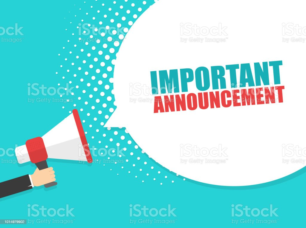 Male hand holding megaphone with Important Announcement speech bubble. Loudspeaker. Banner for business, marketing and advertising. Vector illustration. vector art illustration