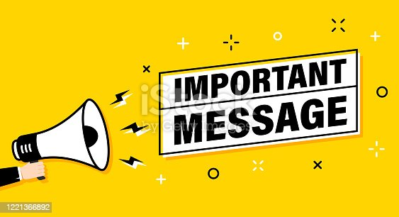 istock Male hand holding megaphone with important message speech bubble. Loudspeaker. Banner for business, marketing and advertising. Vector illustration. 1221366892