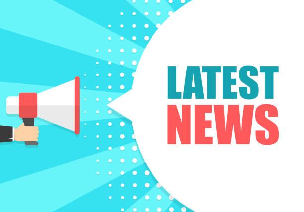 stockillustraties, clipart, cartoons en iconen met mannenhand megafoon met laatste nieuws tekstballon te houden. luidspreker. banner voor business, marketing en reclame. vectorillustratie. - nieuwsevenement