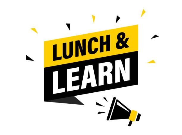 stockillustraties, clipart, cartoons en iconen met mannelijke hand houden megafoon met lunch en leer toespraak bubble. luidspreker. banner voor bedrijven, marketing en reclame. vector illustratie. - studeren