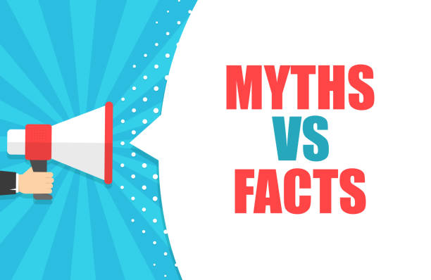 male hand holding megaphone with myths vs facts speech bubble. loudspeaker. banner for business, marketing and advertising. vector illustration. - mythology stock illustrations