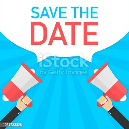 Male hand holding megaphone with Save the date speech bubble. Banner for business. Vector stock illustration.