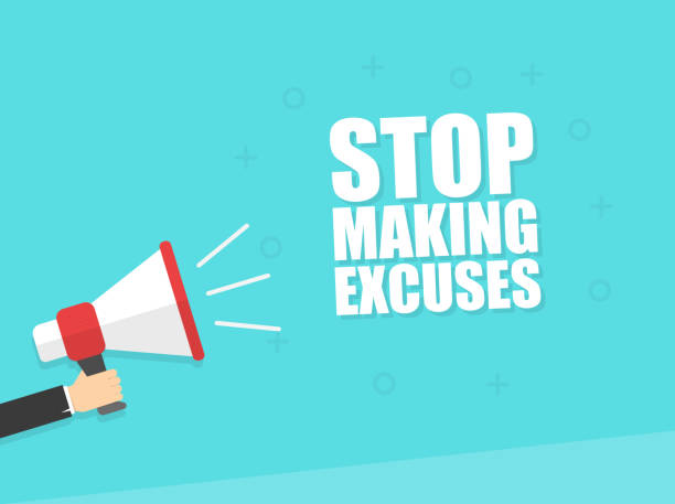 Male hand holding megaphone with stop making excuses speech bubble. Loudspeaker. Banner for business, marketing and advertising. Vector illustration. Male hand holding megaphone with stop making excuses speech bubble. Loudspeaker. Banner for business, marketing and advertising. Vector illustration. blame stock illustrations