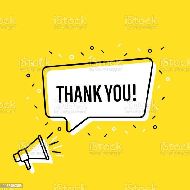 Male Hand Holding Megaphone With Thank You Speech Bubble Loudspeaker Banner For Business Marketing And Advertising Vector Illustration — стоковая векторная графика и другие изображения на тему Thank You - английское словосочетание