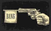 Male hand holding revolver with bang flag . Vector engraving vintage illustrations.