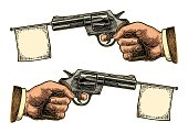 Male hand holding revolver with flag for text. Vector engraving