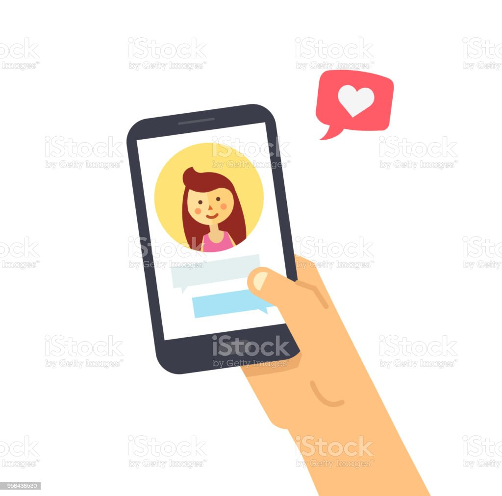 Male hand holding smartphone with girlfriend on screen. Vector phone and social networking. Phone and push notifications. Like from social media vector art illustration