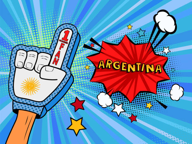 ilustrações de stock, clip art, desenhos animados e ícones de male hand in the country flag glove of a sports fan raised up celebrating win and belgium speech bubble with stars and clouds. colorful illustration in retro comic style - soccer supporter portrait