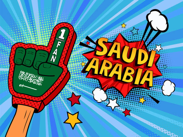 ilustrações de stock, clip art, desenhos animados e ícones de male hand in the country flag glove of a sports fan raised up celebrating win and saudi arabia speech bubble stars and clouds. colorful illustration in retro comic style - soccer supporter portrait