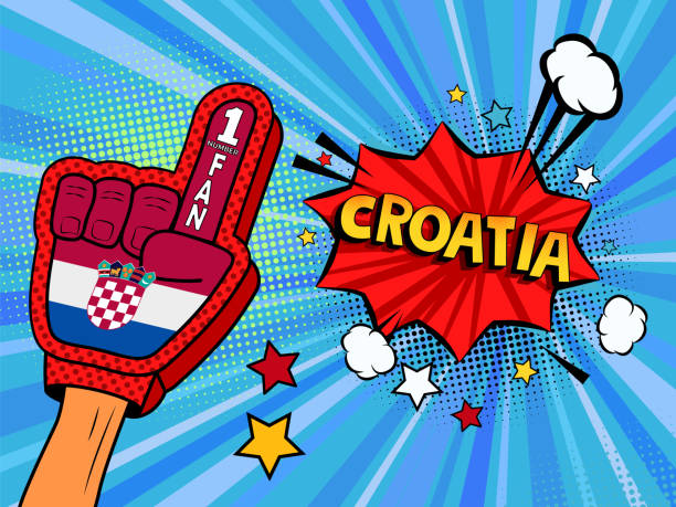 ilustrações de stock, clip art, desenhos animados e ícones de male hand in the country flag glove of a sports fan raised up celebrating win and croatia speech bubble with stars and clouds. colorful illustration in retro comic style - soccer supporter portrait