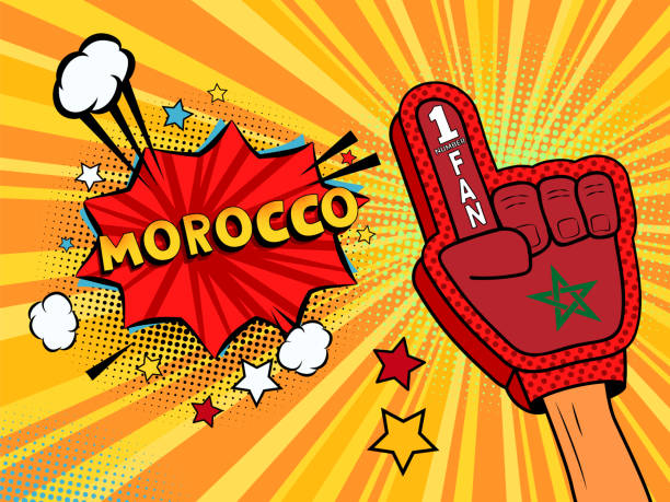 ilustrações de stock, clip art, desenhos animados e ícones de male hand in the country flag glove of a sports fan raised up celebrating win and morocco speech bubble with stars and clouds. vector colorful illustration in retro comic style - soccer supporter portrait