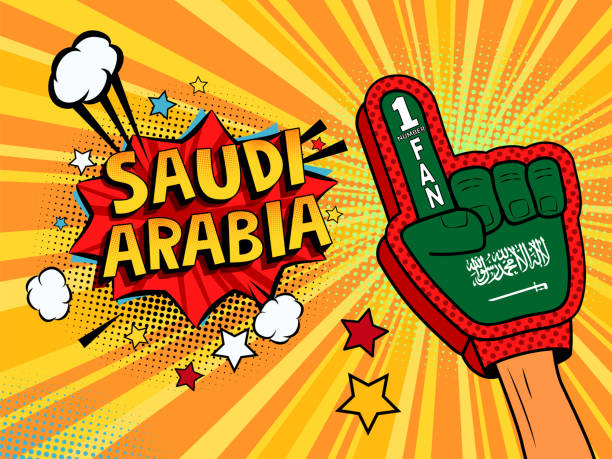 ilustrações de stock, clip art, desenhos animados e ícones de male hand in the country flag glove of a sports fan raised up celebrating win and saudi arabia speech bubble with stars and clouds. vector colorful illustration in retro comic style - soccer supporter portrait
