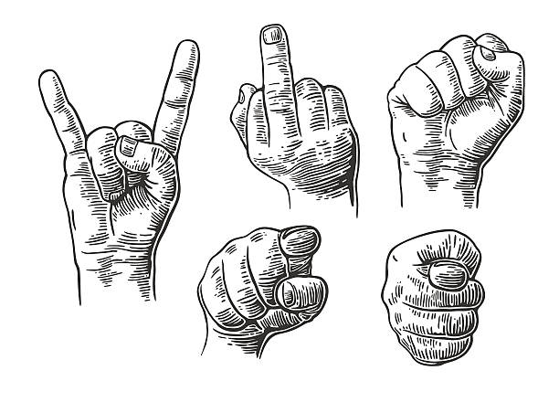 stockillustraties, clipart, cartoons en iconen met male hand sign. fist, pointing finger, rock and roll - swearing
