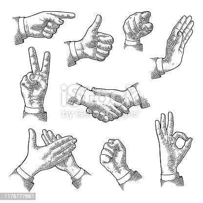 Male Hand sign. Like, handshake, ok, stop, victory, pointing, applause, fist gesture. Vector black vintage engraving illustration isolated white background