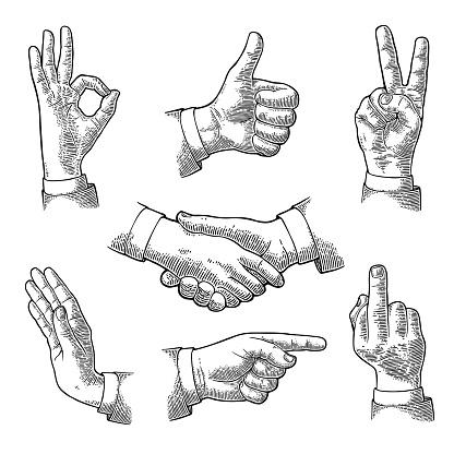 Mannelijke Hand Teken Zoals Handdruk Ok Stop Middelvinger Overwinning Stockvectorkunst en meer beelden van Afgelegen