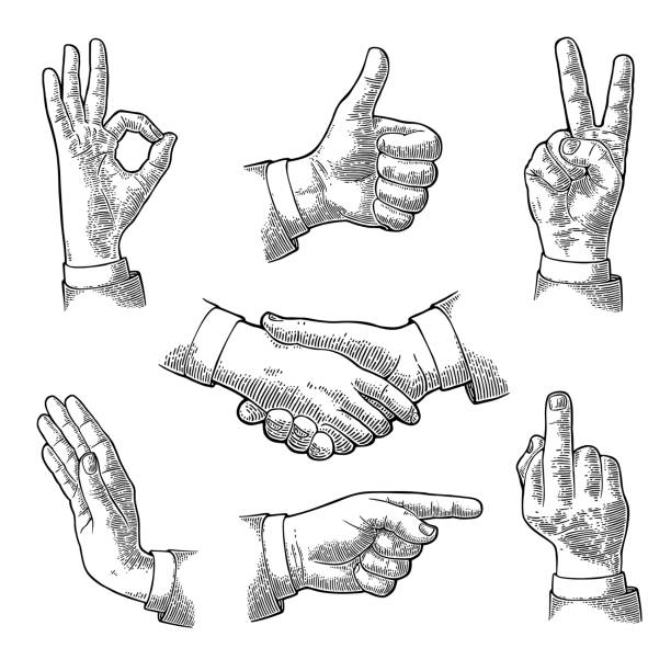 Male Hand sign. Like, Handshake, Ok, Stop, Middle finger, Victory Male Hand sign. Like, Handshake, Ok, Stop, Middle finger up, Victory, Pointing gesture. Vector black vintage engraved illustration isolated white background pointing stock illustrations