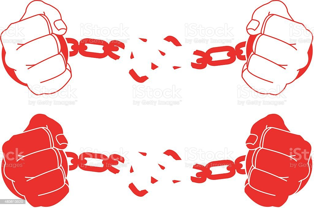 Male hands breaking steel handcuffs. Black and white vector art illustration