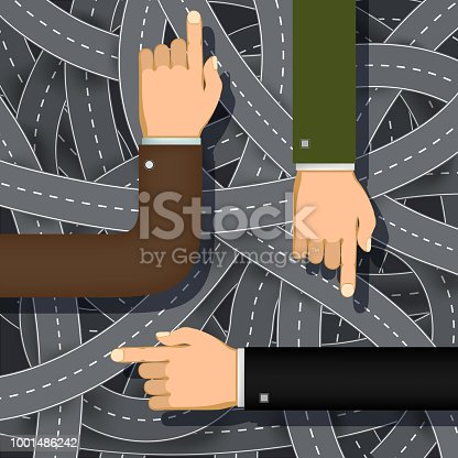 Male hands point the finger the direction. Stock vector illustration.