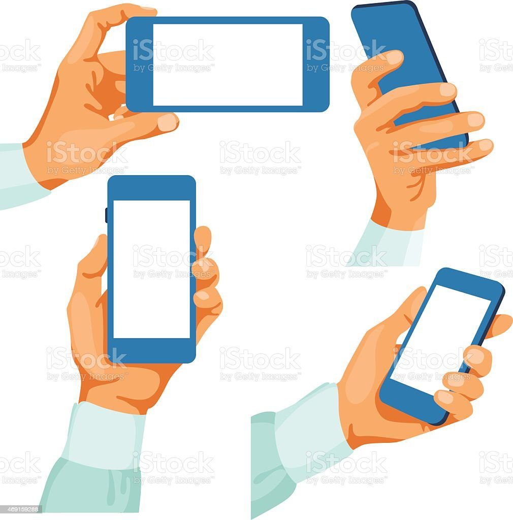 Male hands with phones in them vector art illustration