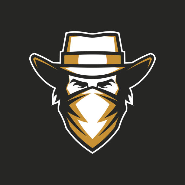 Male head in cowboy hat and bandana Cowboy head in hat and bandana - vector icon for a dark background bandit stock illustrations