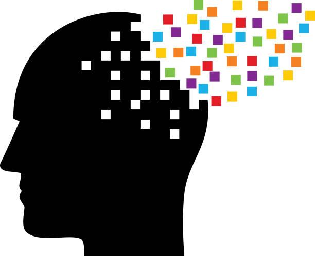 ilustrações de stock, clip art, desenhos animados e ícones de male head releasing colorful squares - alzheimer