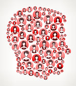 Male Head Women Faces Girl Power Pattern. This vector collage has pink and red round buttons arrange in seamless patter. Individual iconography on the buttons shows women portraits. Women and businesswomen convey a feeling of girl power unity teamwork and partnership. This royalty free vector background graphic is ideal for your feminism and girl power concepts.