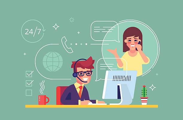 ilustrações, clipart, desenhos animados e ícones de male helpline operator consulting a client. vector - dia do cliente