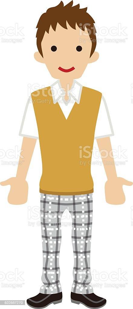 Male High school student -beige vest vector art illustration