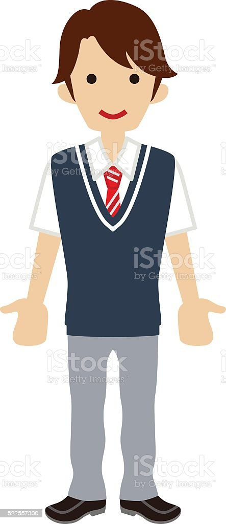 Male High school student -Deep blue color vest vector art illustration