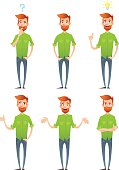 Male hipster characters set with facial emotions