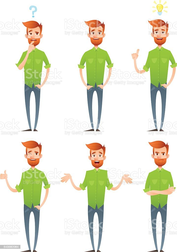 Male hipster characters set with facial emotions vector art illustration