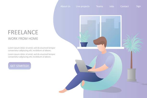 ilustrações de stock, clip art, desenhos animados e ícones de male hipster freelancer at home or office,comfortable workplace - remote work