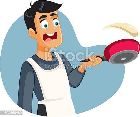 Cocinero casero macho no puede voltear panqueques