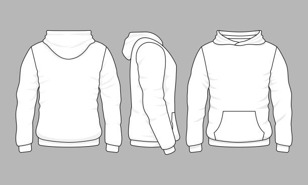 Male hoodie sweatshirt in front, back and side views Male hoodie sweatshirt in front, back and side views. Vector sweatshirt or sportswear clothing with hood illustration hot pockets stock illustrations