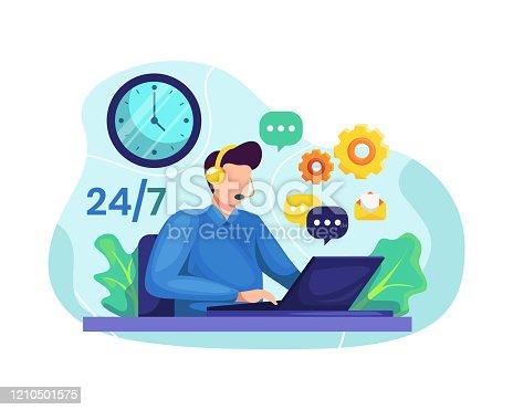 Vector illustration Male customer service. Hotline operator advises client, Online global technical support 24/7. Male customer service worker helping customers over phone calls. Flat illustration