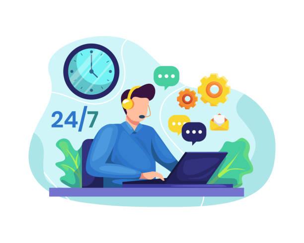 stockillustraties, clipart, cartoons en iconen met mannelijke hotline operator adviseert klant - alleen één jonge man