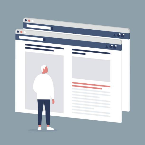 stockillustraties, clipart, cartoons en iconen met mannelijke internetgebruiker bezoeken van een webpagina. lifestyle media. website lay-out. inhoud. technologie. plat bewerkbare vectorillustratie, illustraties - raam bezoek