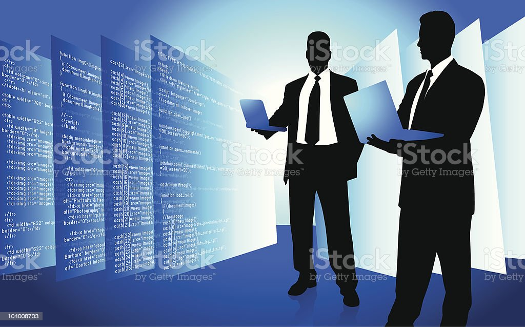 Male IT programmer accessing internet on laptop royalty-free male it programmer accessing internet on laptop stock vector art & more images of abstract