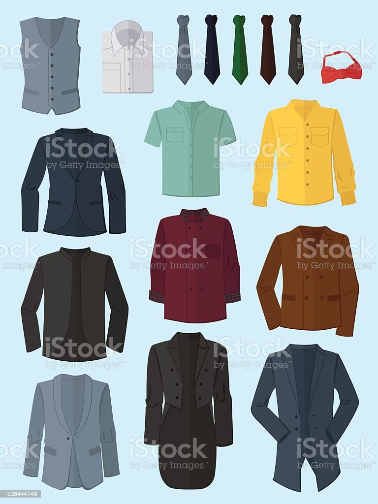 Male jackets, shirts and ties vector art illustration