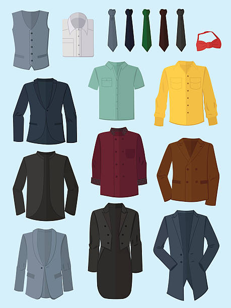 male jackets, shirts and ties - mens fashion stock illustrations, clip art, cartoons, & icons