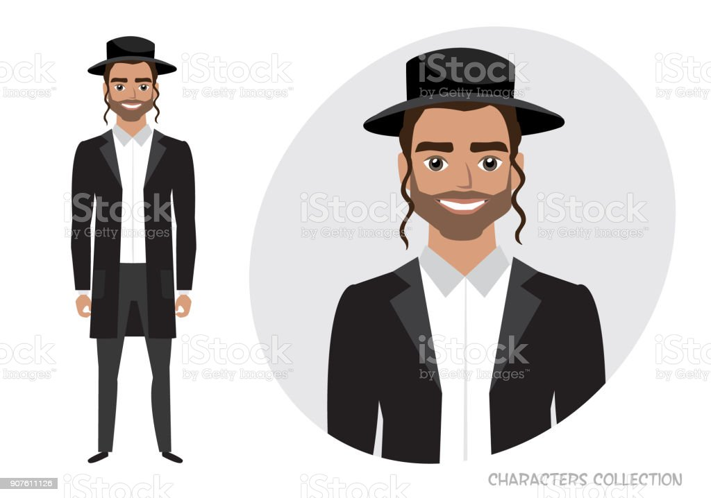 Male Jewish Vector Character Isolated On White Background