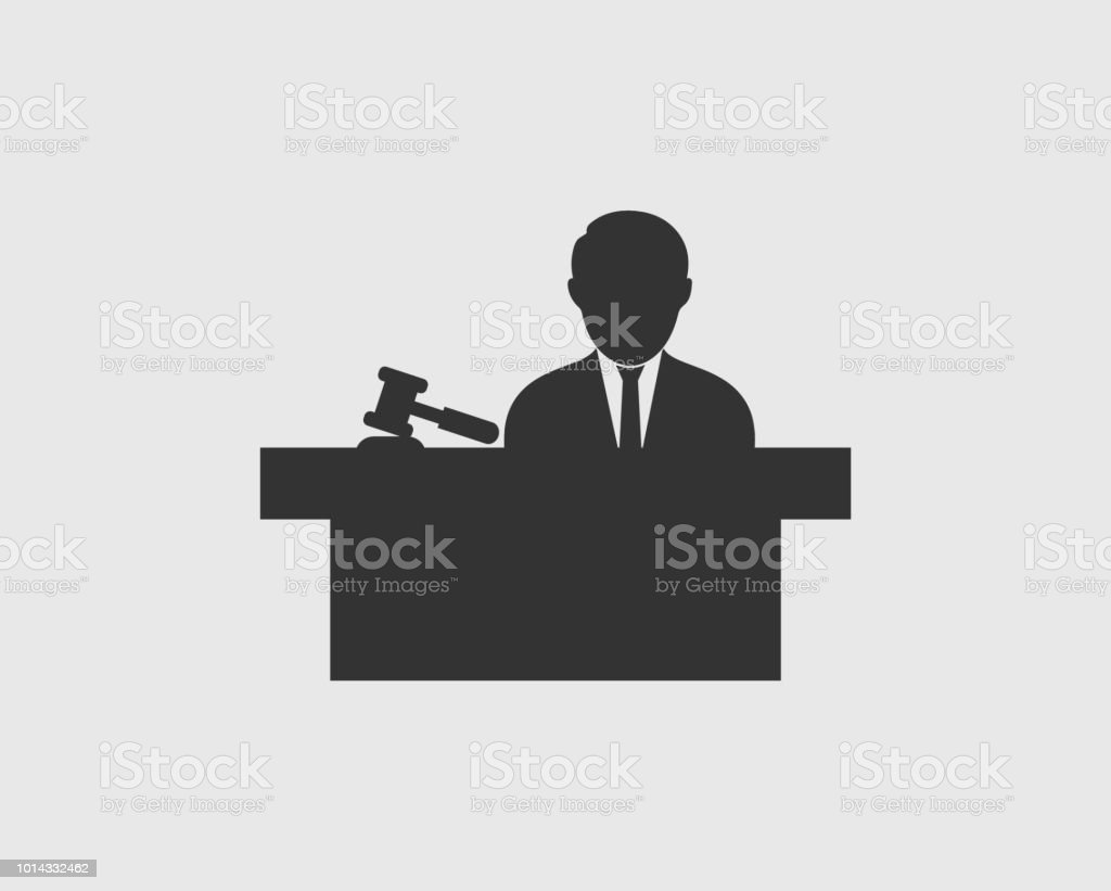 Male Judge Icon With Hammer Symbol Stock Vector Art More Images Of