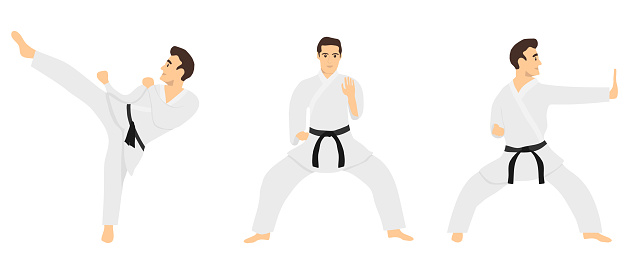 Male karate. Karate master shows tricks. Vector illustration of karate man in white kimono isolated on white background. Vector.