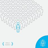 Male Leaders - Infographic vector line icon