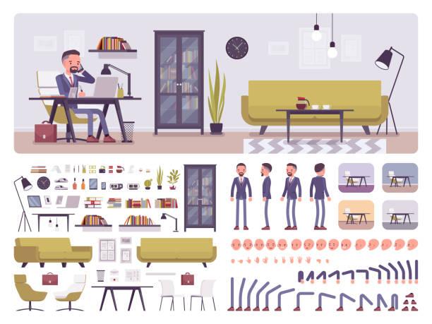 ilustrações, clipart, desenhos animados e ícones de kit de criação de escritório de negócios macho manager - landscape creation kit