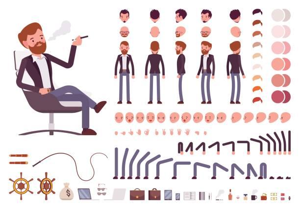 illustrations, cliparts, dessins animés et icônes de jeu de création de caractères masculins gestionnaire - personnages de bande dessinée