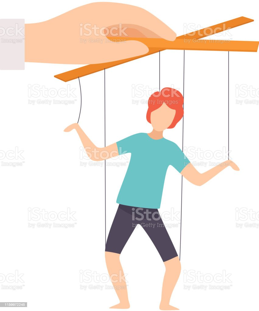 Male Marionette on Ropes Controlled by Hand, Manipulation of People Concept Vector Illustration - Grafika wektorowa royalty-free (Autorytet)