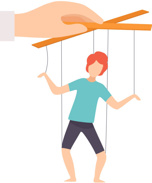 male marionette on ropes controlled by hand, manipulation of people concept vector illustration - kukiełka stock illustrations